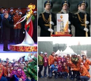 Участие Анны Поповой в торжественной встрече Олимпийского огня «Сочи 2014»